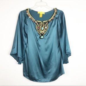 Catherine Malandrino Embellished Silk Blouse Sz 6